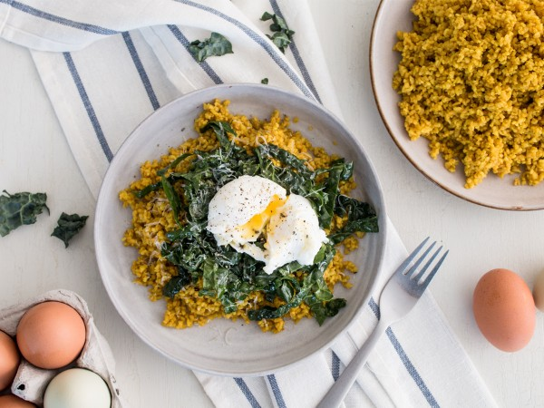 Turmeric Freekeh Bowl with Kale and Poached Eggs